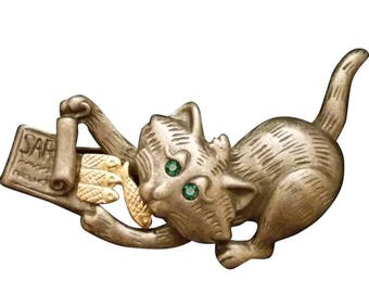 Danecraft Silver Tone Pewter Cat Brooch