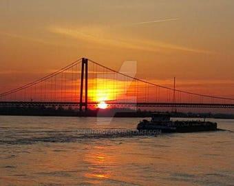 The Rhine bridge at Emmerich during sunset