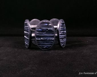 Gray, charcoal, black and blue bracelet