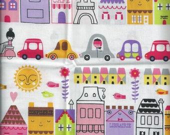 Quiltin fabric PARIS - Eiffel Tower, Shops, Traffic Jam ( 55x30cm) 100% coton