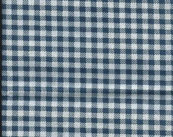 Navy gingham fabric (coupon 45 x 45 cm) 100% fine cotton