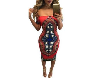 African Print Off Shoulder Short Sleeve Dress