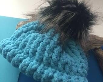 Teal Blue Baby Pom Pom Hat