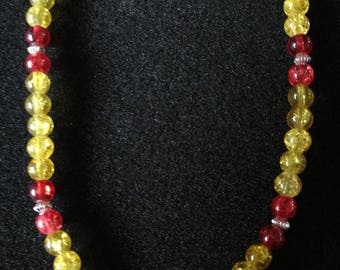 121. Yellow & Red Glass Beaded Necklace