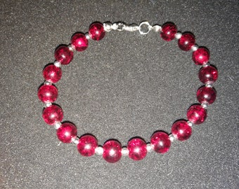 295. Burgundy & Silver Bracelet