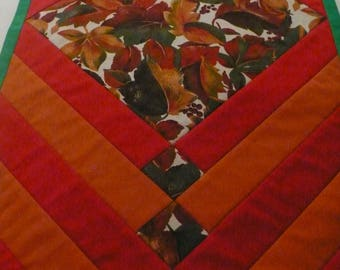 Table Runner for Thanksgiving or Christmas - Quilted Table Runner - Beautiful Colours of Burnt Orange, Red, Green