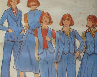 Women's Vintage Pattern for Jacket, Vest, Skirt and Pants, Vintage Butterick 4660, Size 14, CoPA Pattern circa 1970 - UNCUT