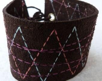 Couture brown suede bracelet multicolor
