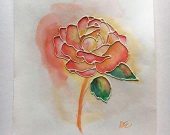 Watercolor Painting - Rose