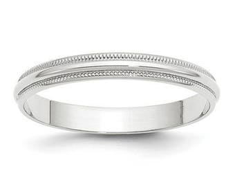 New Solid 14k White Gold Milgrain 3mm Wedding Band Sizes from 4 - 14. Solid Stamped 14k White Gold, Made in the U.S.A.