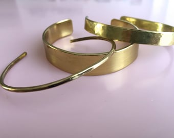 Brass hammered cuff set, bracelet, bangle, handmade, giftset,