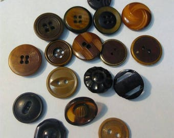 Set of plastic, round buttons, vintage