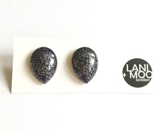 Teardrop Black Glitter Resin Stud Statement Earrings!
