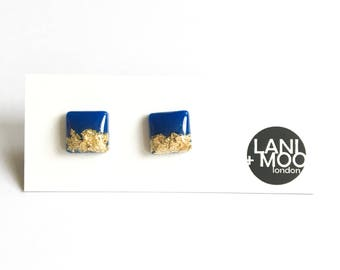 Square Blue Resin Stud Metallic Gold Leaf Statement Earrings!