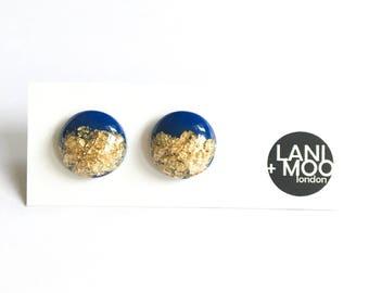 Circle Blue Resin Stud Metallic Gold Leaf Statement Earrings!