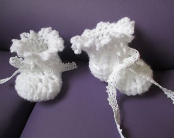 White baby booties 0-3 month baby
