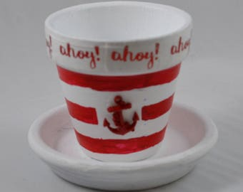 Ahoy mate! Small Hand Painted Flower Pot