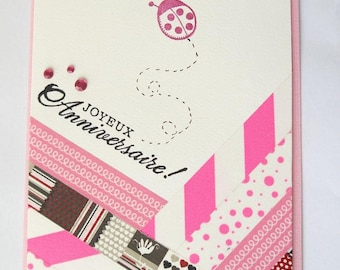 Birthday greetings for card pink Collection Washi