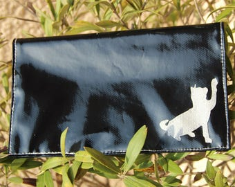 Checkbook holder in black and white decoration oilcloth cat