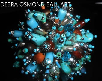 Turquoise Island, jeweled sphere, Beaded Orb, Sculpted Ball