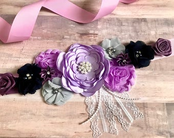 Lavender Navy Dark Purpke Pink Flower sash, Maternity Sash, Purple Lavender Gray Sash, Gender Reveal Party Sash, Baby Shower Sash, Keepsake