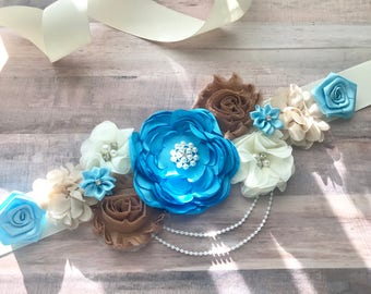 Brown Blue Cream Vintage  White Flower Sash Pregnancy Sash Gender Reveal Party Baby Shower Gift Keepsake Flower Girl Sash Bridal sash