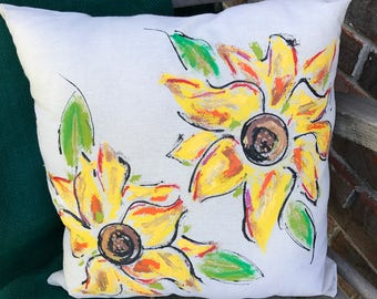 Double Sunflower Pillow Cover-upper left