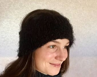 Black wool winter headband