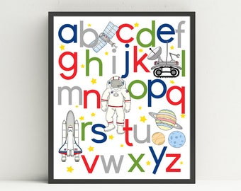 Space Alphabet poster, ABC print,  nursery art, kids wall decor,  outer space, Choose your colors