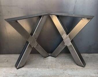 2x2 X shape metal legs, set of 2, metal table legs, steel table legs, bench legs, industrial table legs, heavy duty table legs, steel legs