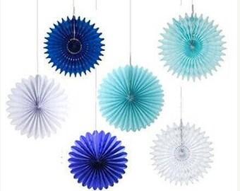6 pcs Honeycomb Tissue Paper Fan Royal Blue Light Blue White Hanging Paper Rosette Wedding Birthday Shower Party Decoration