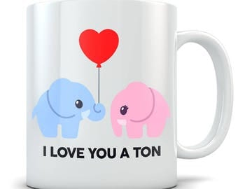 Cute Elephant Mug - Blue and Pink Elephant In Love Coffee Cup - Funny I Love You a Ton - Great Gift For Animal Lovers