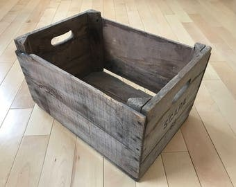 Vintage Shipping Crate, Old Wood Box, Old Shipping Crate, Shipping Box, Rustic Wood Crate. Rustic Wood Box