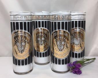 Vintage MCM Black and Gold Tom Collins Cocktail Glasses - set of 4