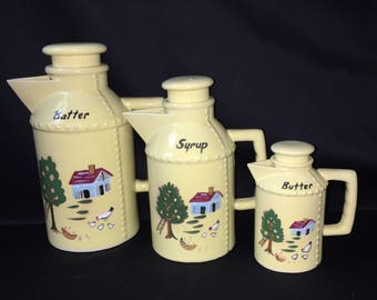 Pancake Batter Pitcher Ceramic Yellow Farm Scene - set of 3