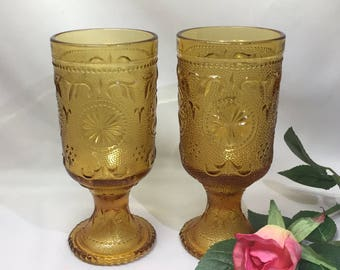 American Concord Footed Amber Goblets Duz Detergent Giveaway - Set of 2