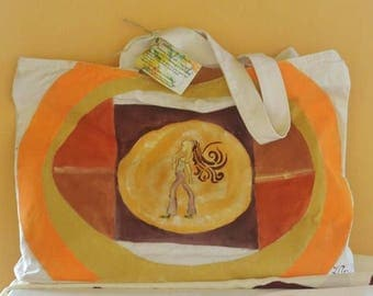 Hand painted cotton cloth bag with motifs style years 70