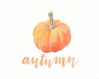 5x7 Original Pumpkin Watercolor