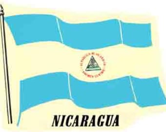 Vintage Style Nicaragua Flag  Central America Costa Rica  Travel Decal sticker