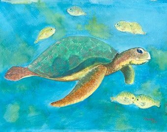 Sea Turtle Archival Giclée Print on Archival Fine Art Paper Made of Cotton