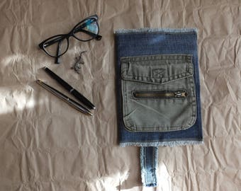 """Blue Denim Journal Cover """"Matthew"""" with pocket and bookmark, Jeans Notebook Cover, Denim Book Cover, Jeans Exercise Book Cover"""