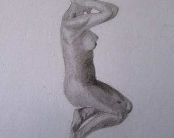 Naked Woman Black and White Pencil Drawing- Print