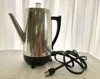 Vintage Mid Century 9 cup Coffee Percolator, Electric Coffee Pot by West Bend