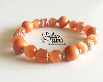 Bracelet orange and silver - nickel free