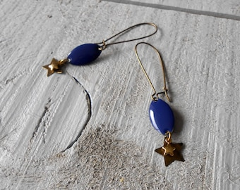 Earring bronze sequin blue enamel and gold star detail