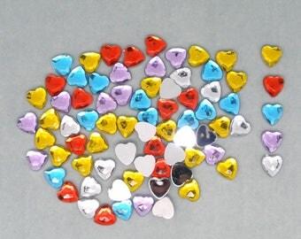 Assorted rhinestone heart shaped acrylic (x 40)