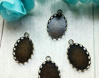 SET OF 4 CHARMS MEDALLIONS SUPPORT CABONCHONS METAL BRONZE
