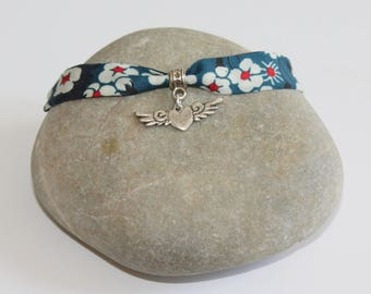 Bracelet Liberty and charm heart winged color silver