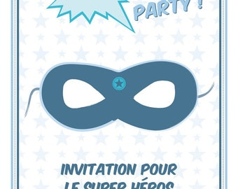 For a Super Hero birthday invitation card