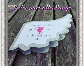 Personalized angel wing baptism invitation